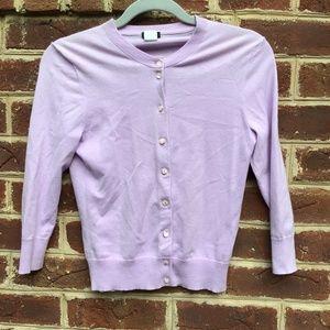 J. Crew Light Purple 3/4 Sleeve Cardigan/Sweater